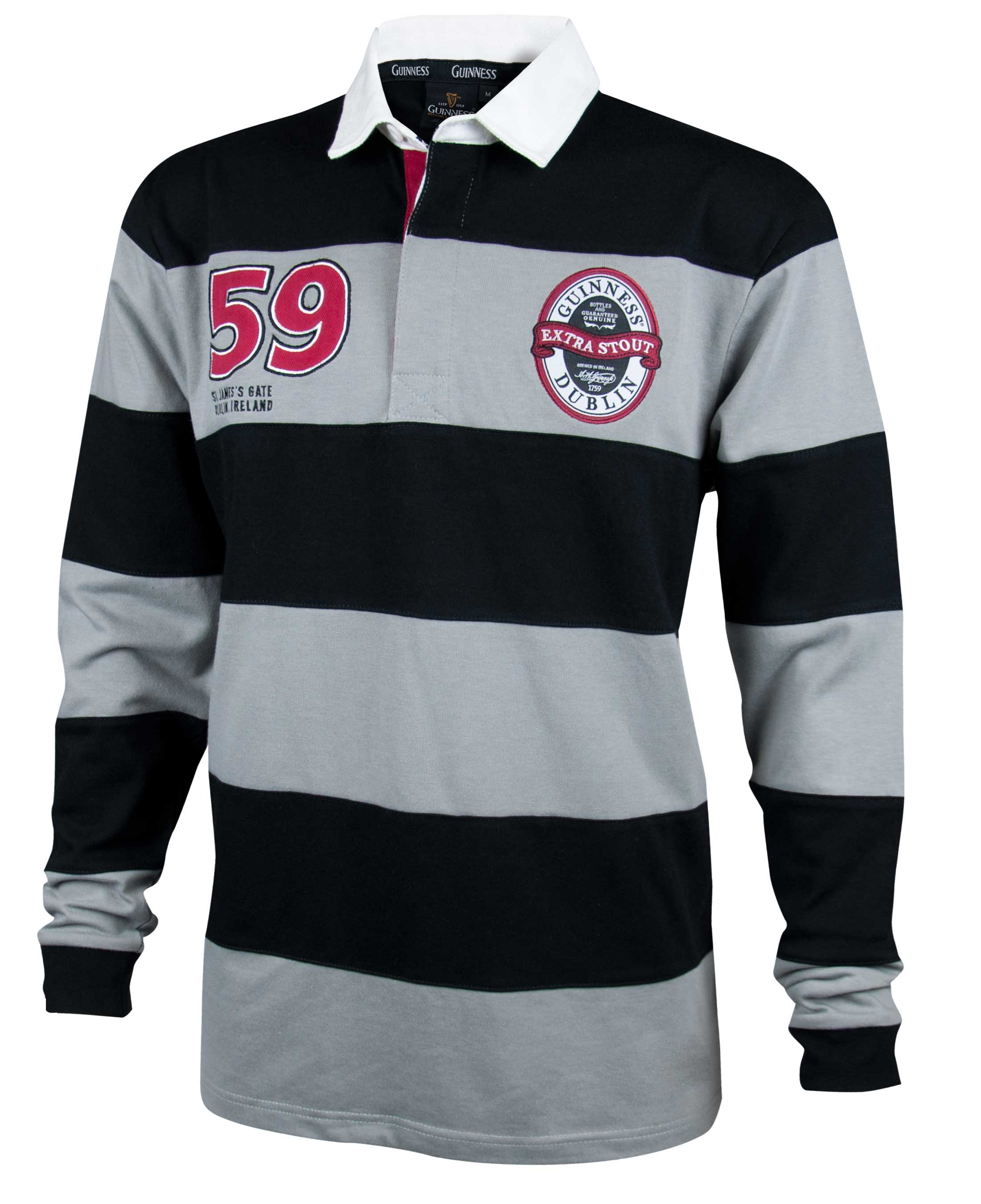 Guinness® Grey and Black Striped Rugby Jersey