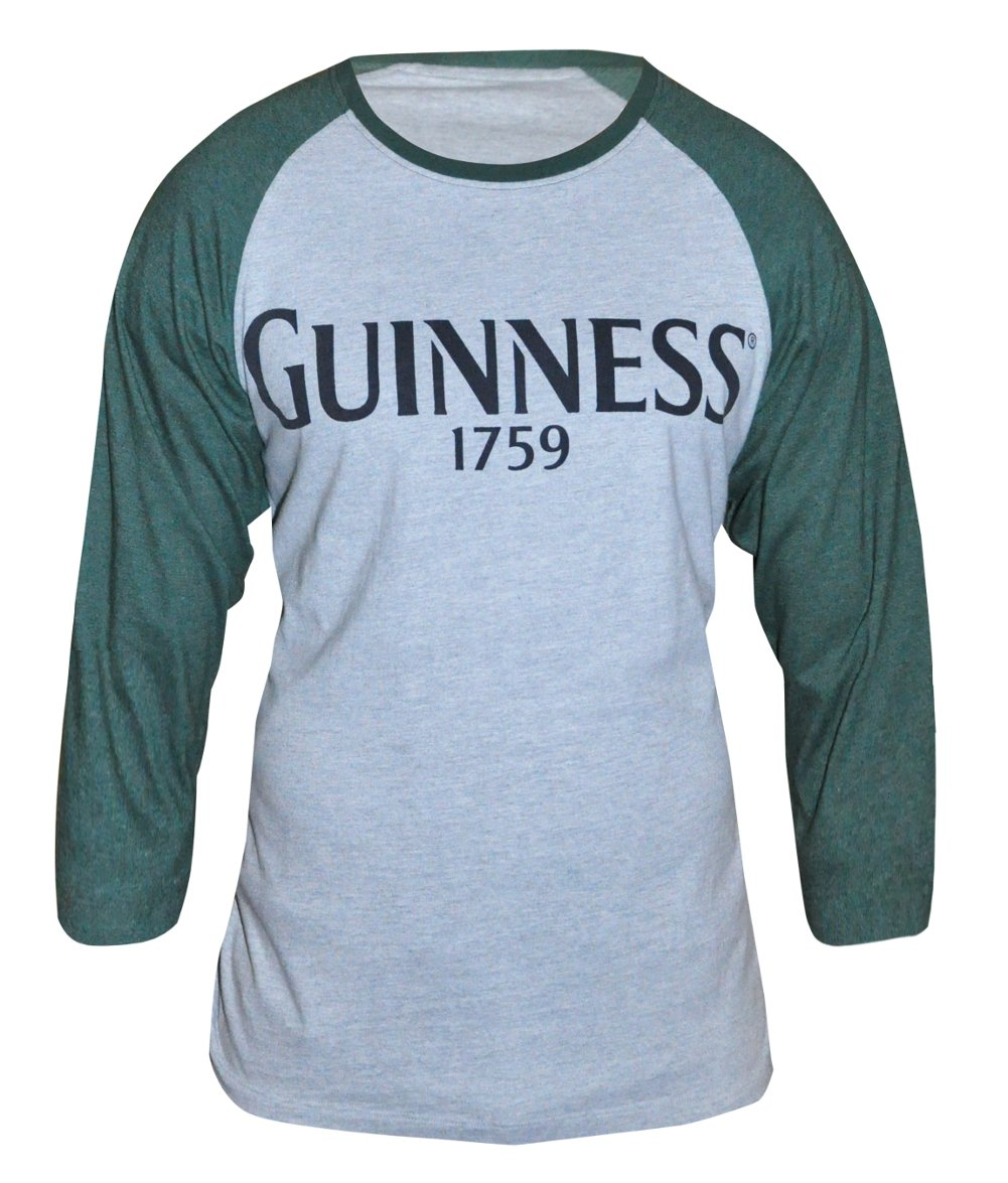 Guinness® Men's Grey Cotton Vintage Baseball Style Long Sleeve T-Shirt
