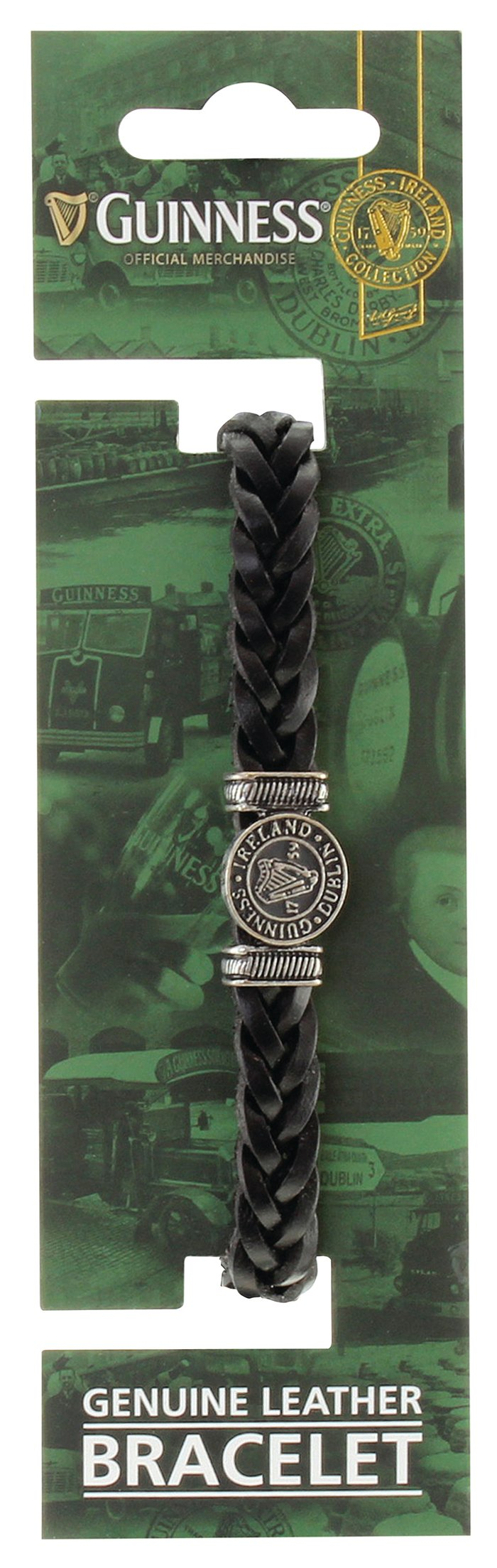 Black Leather Harp Bracelet