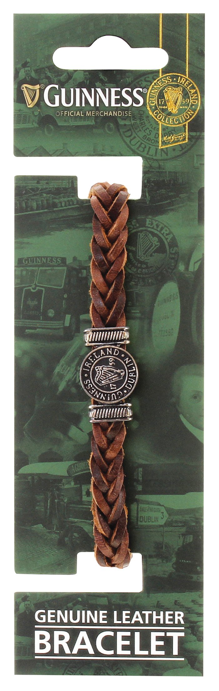 Brown Leather Harp Bracelet