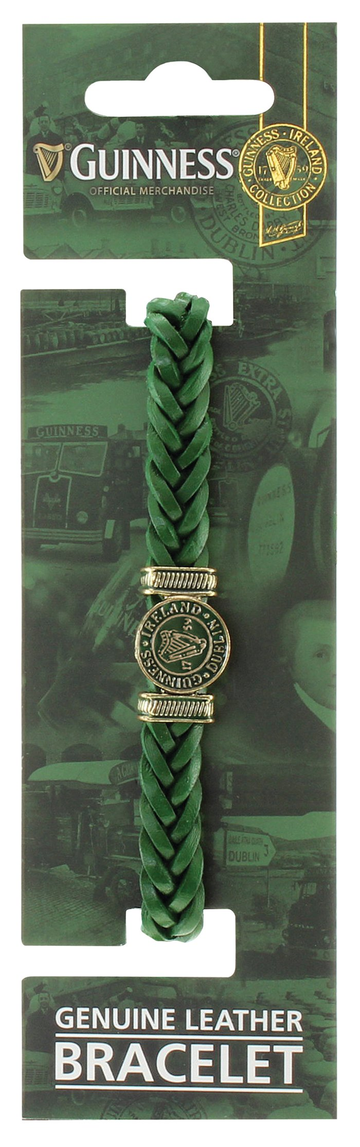Green Leather Harp Bracelet