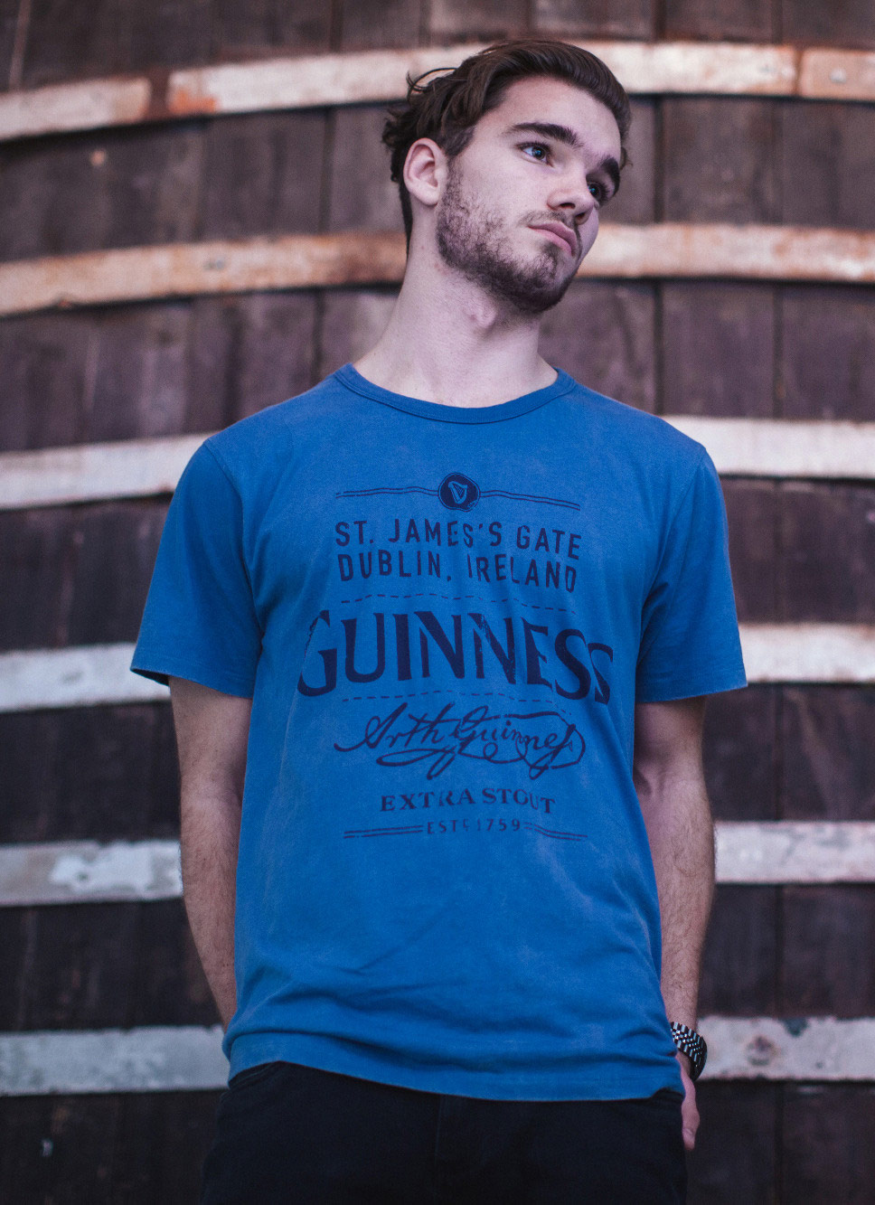 Guinness® Men's Blue Cotton St. James's Gate Dublin, Ireland Short Sleeve T-Shirt